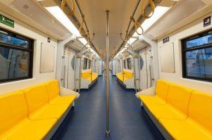 An empty subway train.