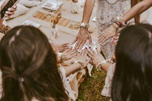 a bride and bridesmaids at a bridal shower