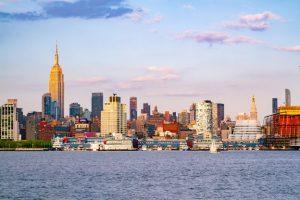 New Jersey Skyline seen from a Boardwalk