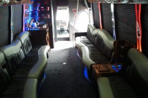 Interiors of a party bus rental